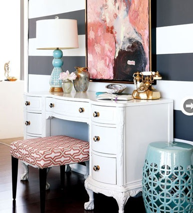 It's more a desk than vanity but the setup & decor makes it work. [photo credit: bellemaison23]