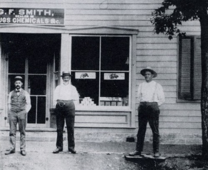 Photo of Dr. Smith on the right with others in front of his drugstore - 1895. credit: cobrarock.com