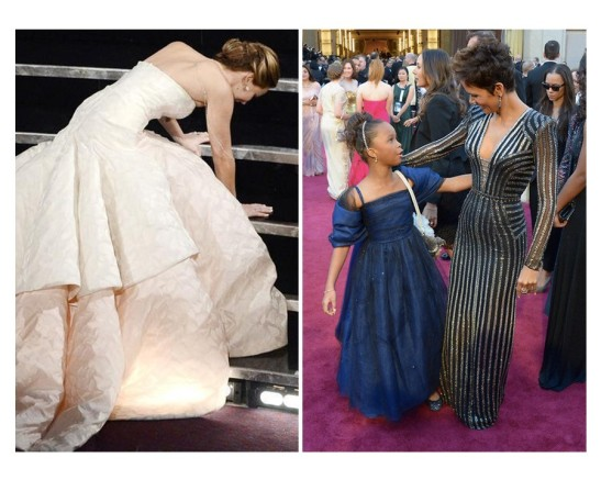 Jennifer Lawrence slips on the stairs headed toward the podium. Halle Berry greets Quvenzhane Wallis on the red carpet.