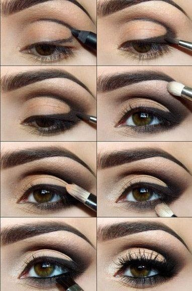 I love this simple and easy guide for creating a go-to smokey eye look for evening. You'll need black pencil liner, a firm tipped blender brush, dark brown shadow, vanilla shadow, small blender brush, flat firm tipped blender for liner on lower lash, mascara, and you're all set!