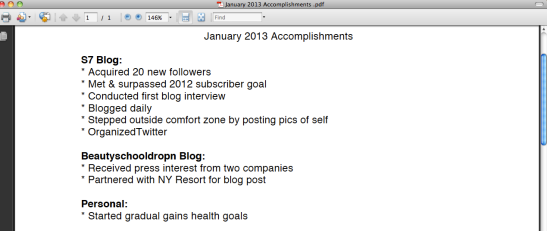 My Jan 2013 Accomplishments List