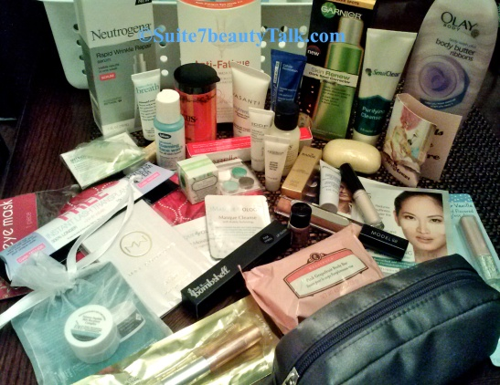 Everything pictured will be awarded to one winner! Because I'm a skincare fanatic, most of the items are skincare products, but there's some great lippies in there & perfume samples too, eyeshadows etc..